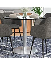 """Heavenly Collection Puca Round Glass Tempered Dining Table with Chrome Stainless Steel Base in Brushed Finish 36"""", Dining Room, Kitchen"""