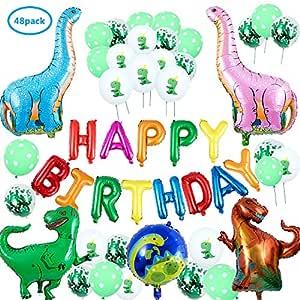 Comius 48 Piezas Decoración de Fiesta de Dinosaurio, 3D Globos de Dinosaurio, Happy Birthday Banner, Globos de Colores para Niños Chicas Selva ...