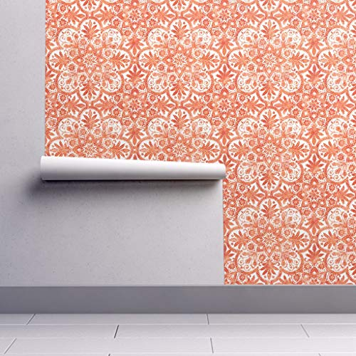 Peel-and-Stick Removable Wallpaper - Tile Tile White Orange Halloween Orange And White Leaves Marquise by Peacoquettedesigns - 12in x 24in Woven Textured Peel-and-Stick Removable Wallpaper Test Swatch]()