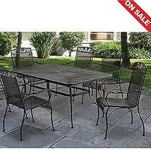 Rústico Patio mesa de comedor juego de siete llaves rectangular Metal Brazo sillas muebles de jardín patio & E libro por easy2find