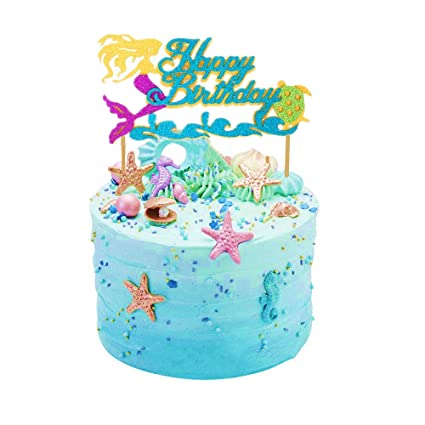 Amazon Sakolla Glitter Mermaid Cake Topper Happy Birthday
