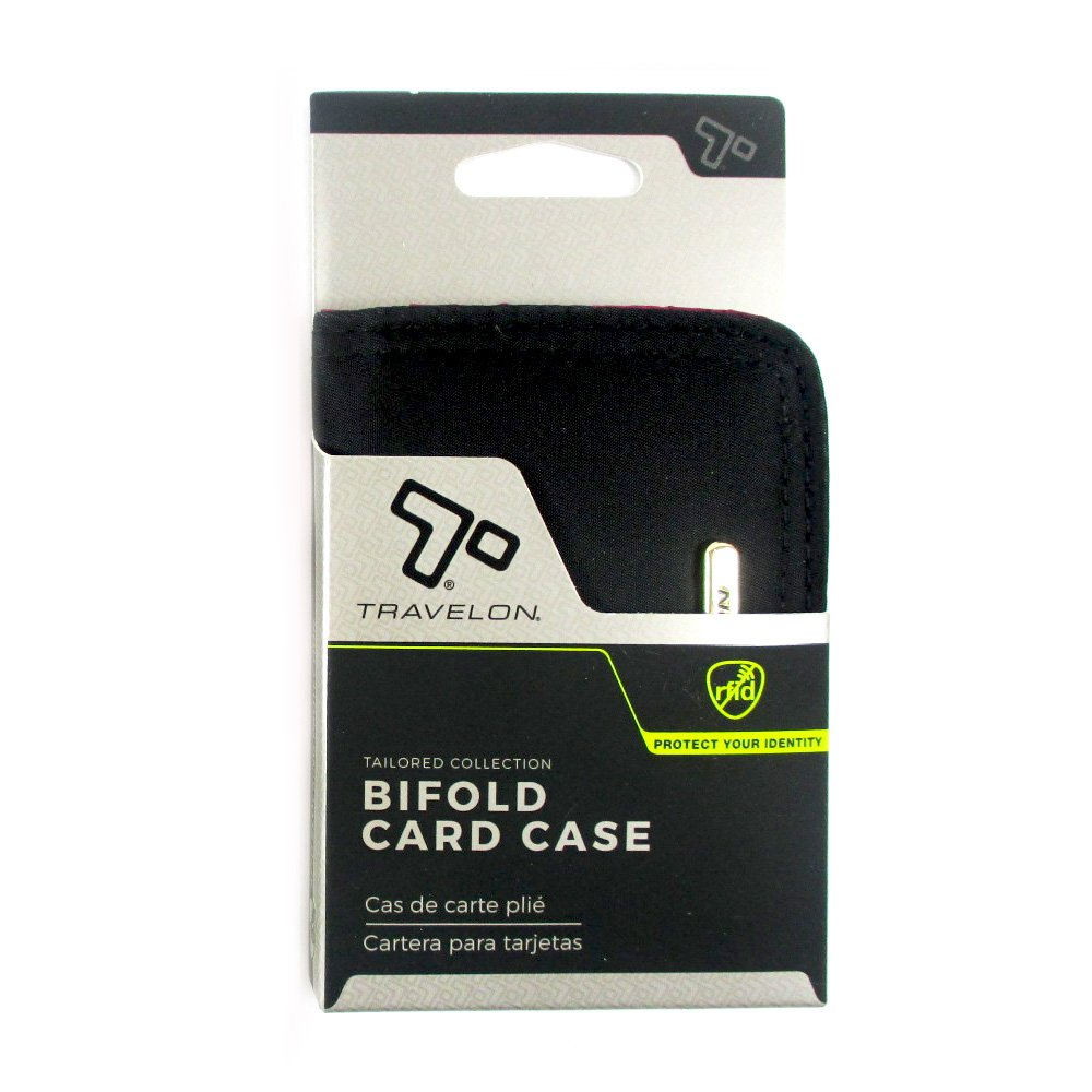 Amazon.com : 1 Travelon RFID Bifold Card Case Blocking Protection ID Window Designer Black : Office Products
