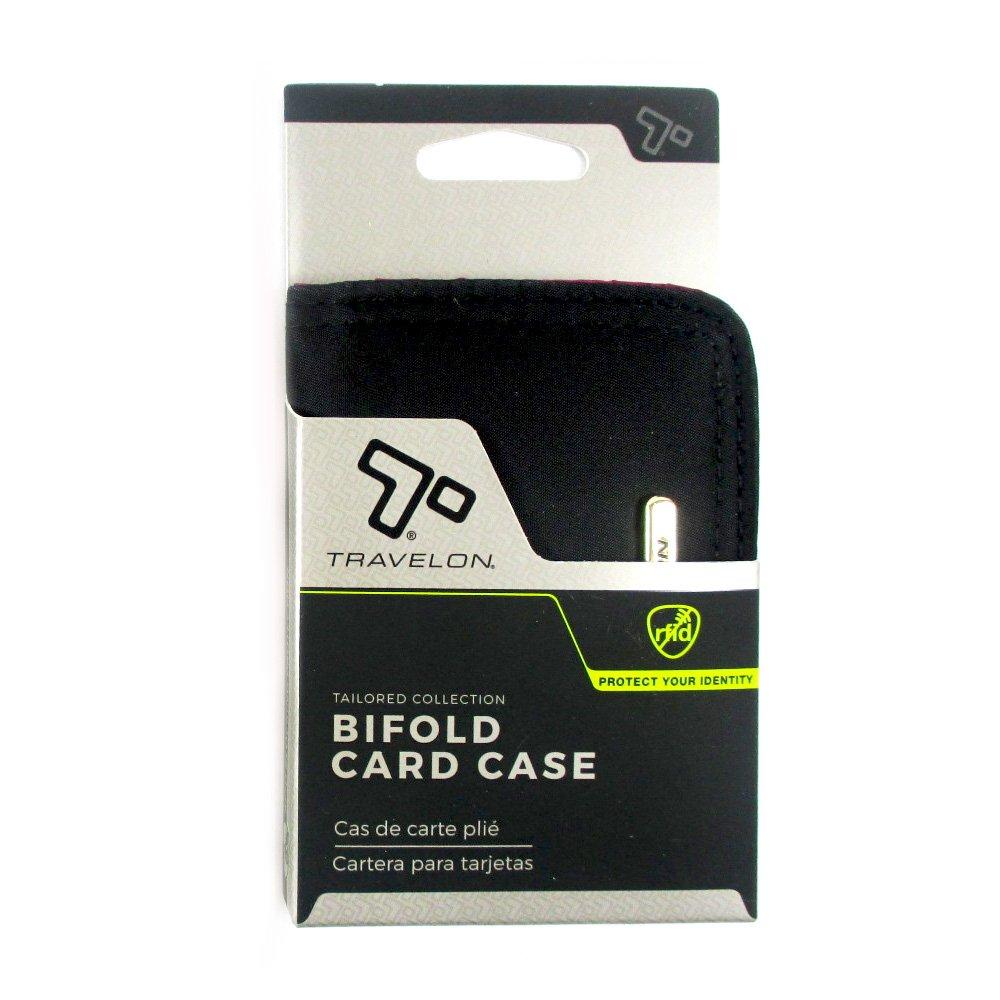 Amazon.com : 1 Travelon RFID Bifold Card Case Blocking Protection ID Window Designer Black : Office Products