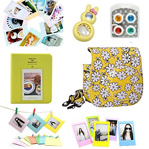 (CLOVER Accessory Bundles Set For Fujifilm Instax Mini 8 Instant Camera (Yellow Floral Case Bag/ Album/ Rabbit Self-Portrait Mirror/ Close-Up Lens(Filter)/ Photo Frame/ Decor Sticker/ Wall Frame))