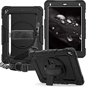 CLARKCAS iPad 9.7 inch 2018/2017 Case iPad Air 2 [Built in Screen Protector] Shockproof Heavy Duty Rugged Silicone Cover with Pencil Holder Strap Stand for iPad Pro 9.7/iPad 6th 5th Gen-Black
