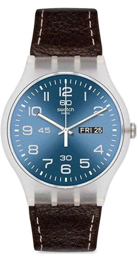 Amazon.com: Swatch Mens Originals SUOK701 Brown Leather Swiss Quartz Watch with Blue Dial: Watches