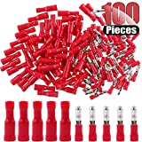 Hilitchi 100pcs 22-16 Gauge Insulated Male/Female Bullet Quick Splice Wire Terminals Wire Crimp Connectors Set