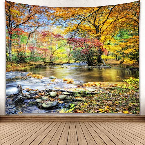 - Wall Art Hanging Tapestry Autumn Scenery Brook Trees Large Size W80xH71 inch