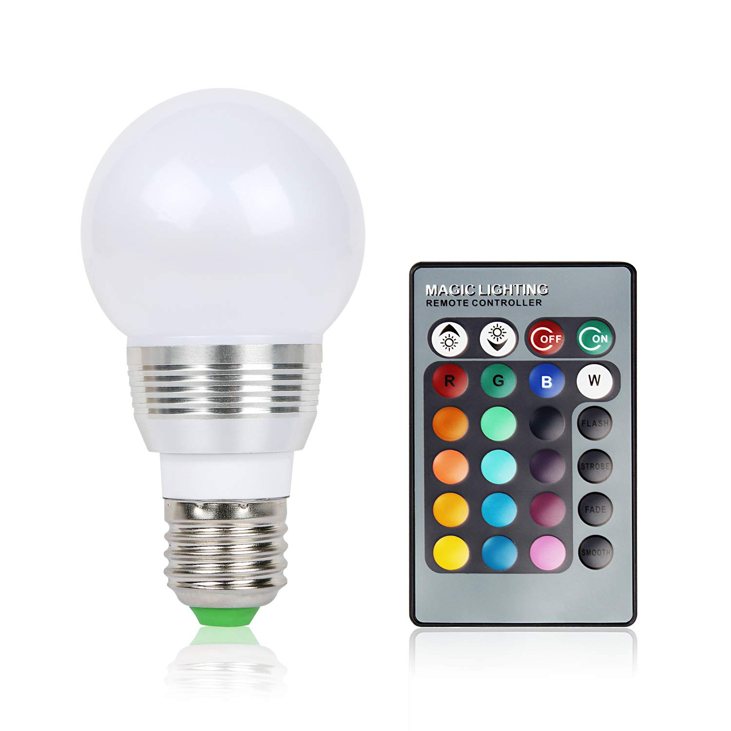?RGB LED Light Bulb,Moclever LED Bulb Color Changing Light Bulb with 16 Different Color Choices Smooth - Flash or Strobe Mode - Premium Quality & Energy Saving Retro LED Lamp - Remote Control