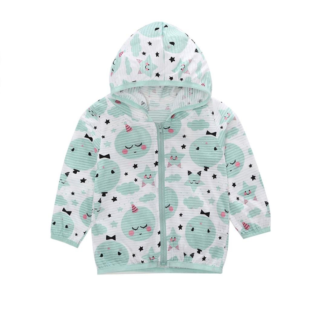 kaiCran 2018 New Toddler Kids Summer Sunscreen Jackets Printing Hooded Outerwear Zipper Coats