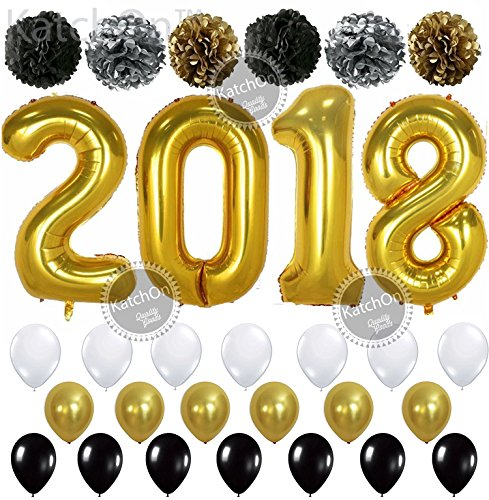 Giant Gold 2018 Balloons with Pom Poms - New Years Eve Party Supplies and Graduation Decorations - New Year Eve Decorations - Gold Black Silver PomPoms and Gold Black and White Balloons