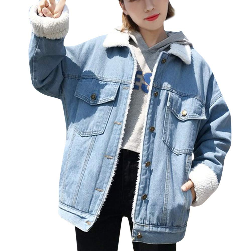 Womens Denim Teddy Coat, NEWONESUN Women Retro Button ...