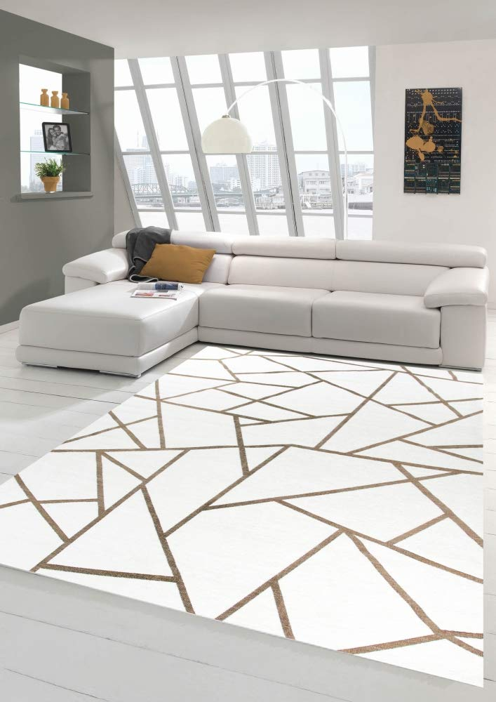Merinos Orientteppich Wohnzimmer Teppich Geometrisches Muster in Creme Gold Größe 135x200 cm