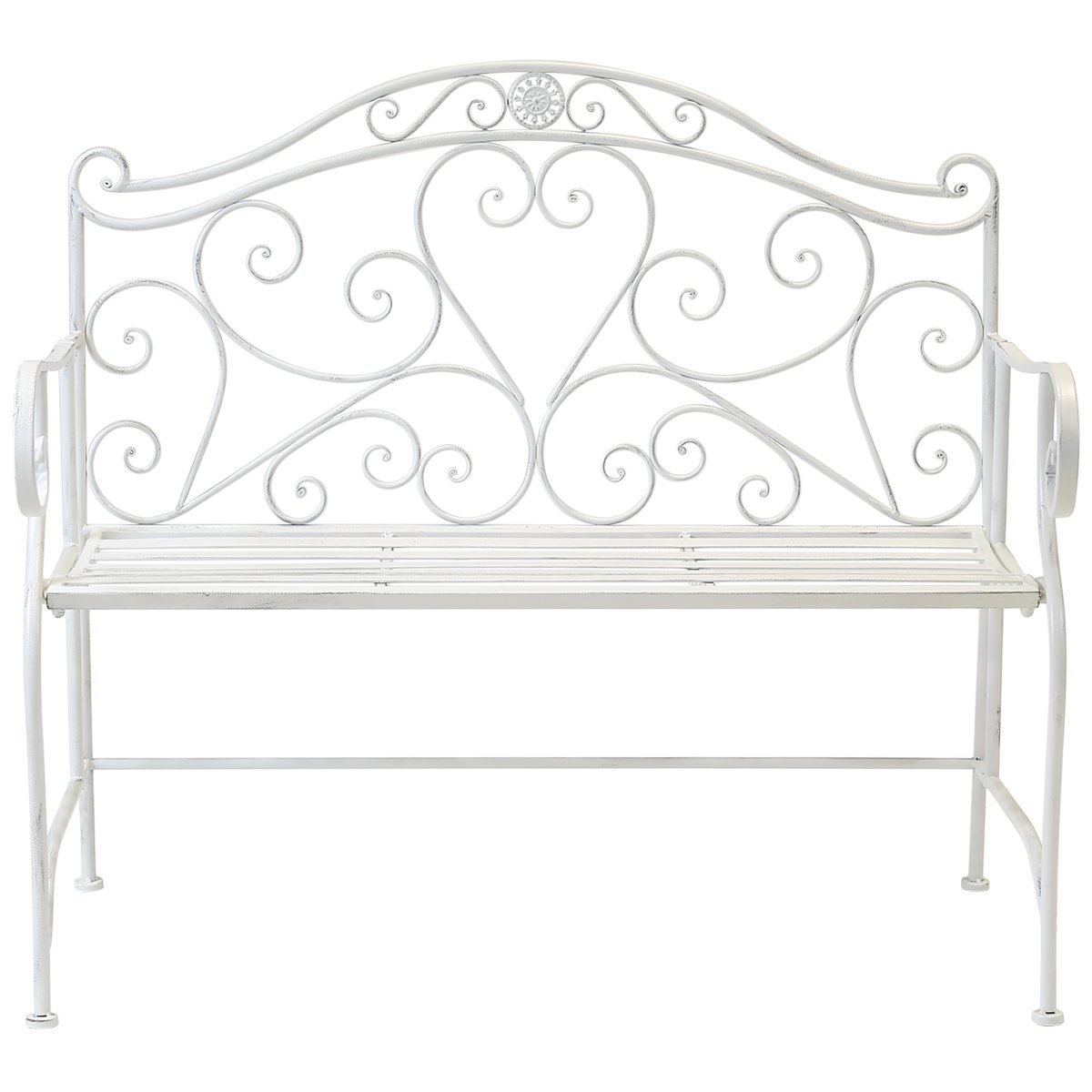 Charles Bentley Garden Heart-Shaped 2 Seater Wrought Iron Ornamented Bench Metal Outdoor Seat - Antique Black