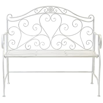 Hervorragend Bentley Garden   Gartenbank/Zweisitzer   Schmiedeeisen Mit Herz Ornamenten    Antik Weiß