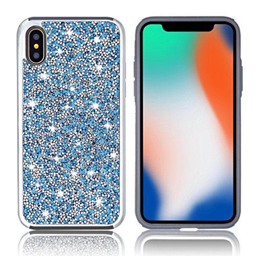 iPhone X Case [Free Screen Protector] Shiny Glitter Sequin Hard Shell TPU Rubber Gel Case Cover For Apple iPhone X (Blue)