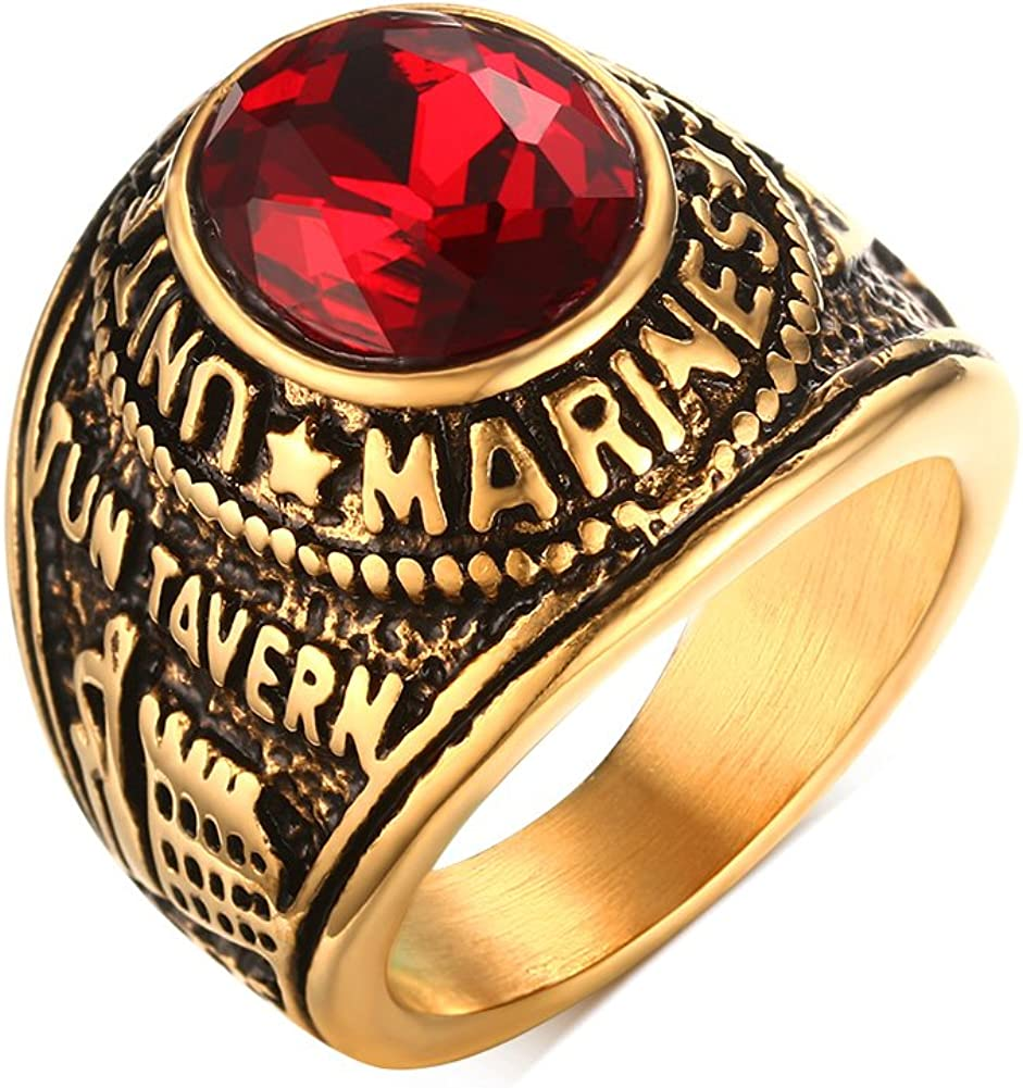 Mealguet Jewelry Stainless Steel Gold Plated Tun Taverk Red Stone United States Military Corps Rings for Men
