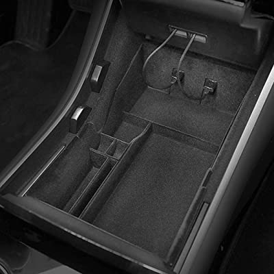 BMZX Car Flocked Center Console Organizer Tray for Tesla Model 3 2020 2020 2020 2020 Interior Accessories Storage Armrest Box Phone Mount Pocket Sunglass Holder Container (OEM Black): Automotive