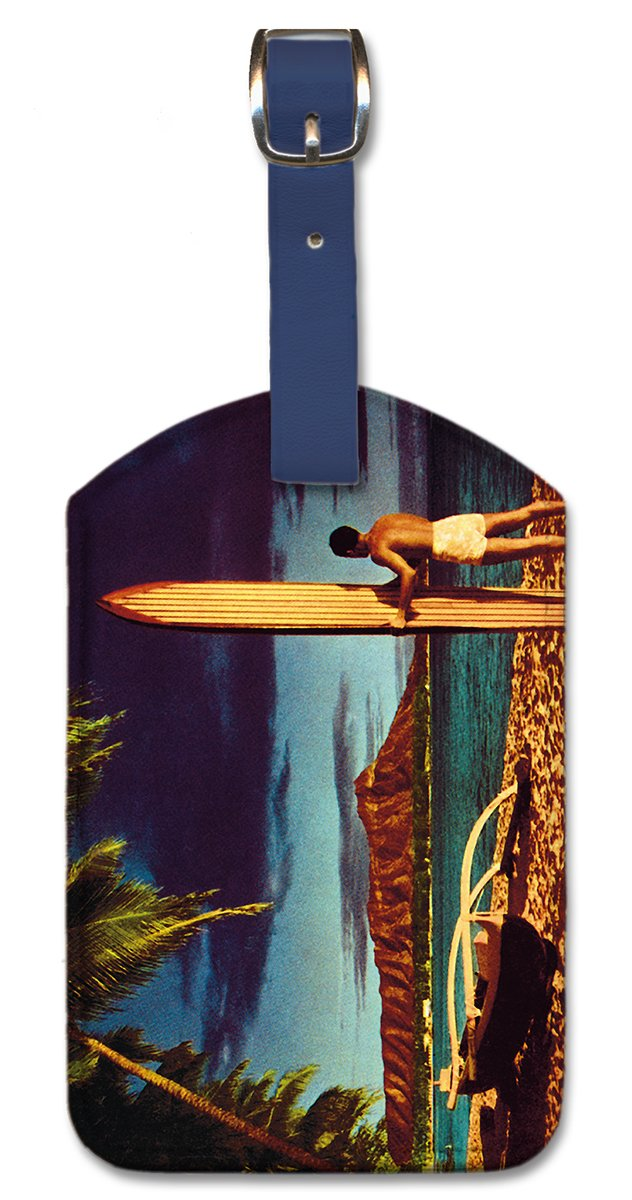 Pacifica Island Art Leatherette Luggage Baggage Tag Outrigger /& Diamond Head by Fern