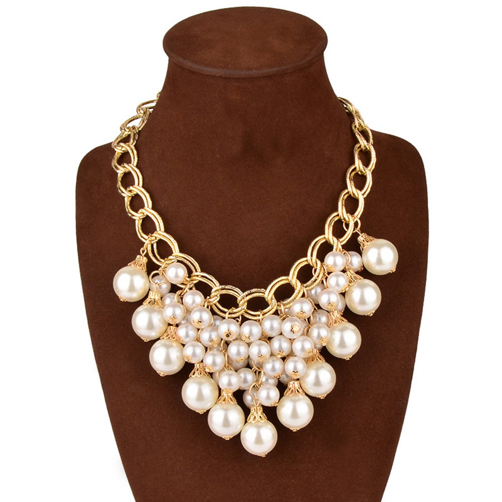 Yeshion Handmade White Faux-Pearl Beads Statement Necklace for Women Wedding Y00001