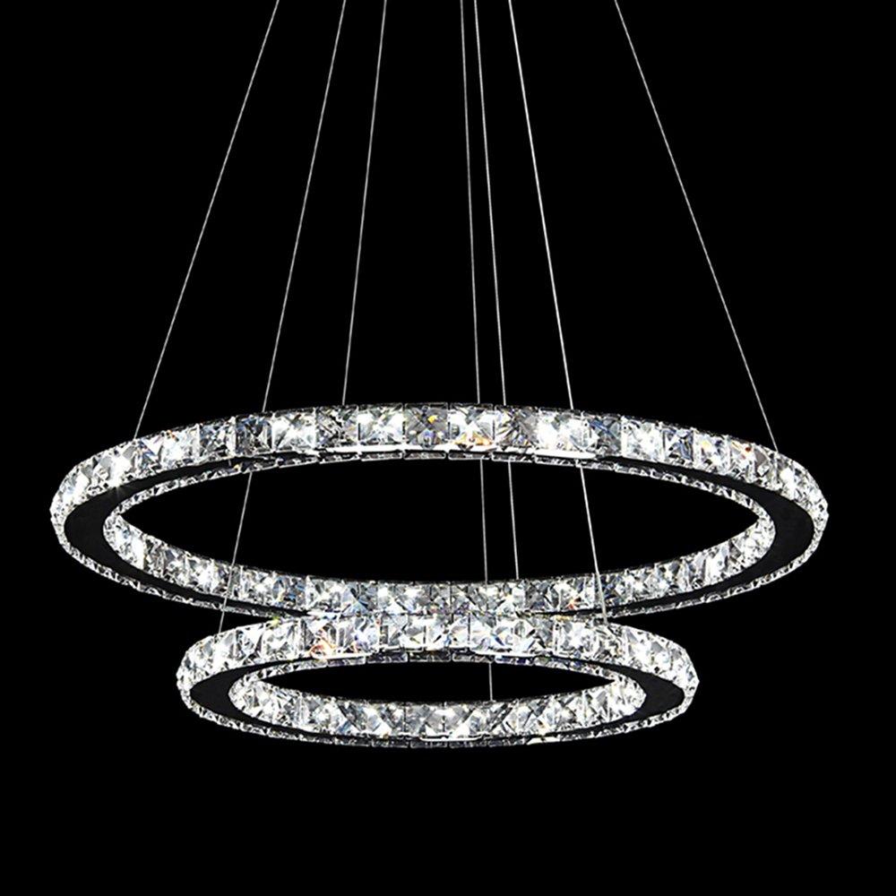 48W LED Kristall Design Hängelampe Deckenlampe Pendelleuchte Kreative Kronleuchter ZWeißRinge WarmWeiß Lüster (48W WarmWeiß)