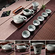 XIDUOBAO Handmade Porcelain Ru Kiln Kungfu Tea Set Chinese Celadon Gongfu Tea Set Green Porcelain Tea Pot Ceramic Gongfu Teacup Home/office/travel Teaset.Set of 10 PCS.