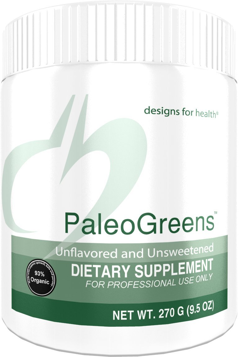Designs for Health PaleoGreens - Unflavored and Unsweetened Organic Green Shake Powder with Alkalizing Vegetables, Enzymes + Antioxidants, No Fillers + Non-GMO (30 Servings, 270 Grams) by designs for health