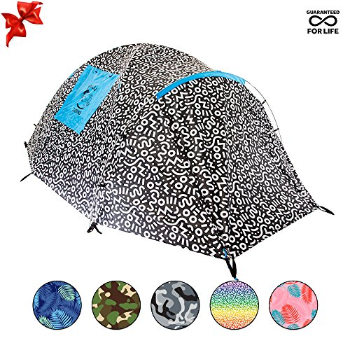 Chillbo Cabbins 2 Person Tent with Cool Patterns Ultimate Camping Gear for Backpacking Car Camping Music Festivals Family Camping Tents for Camping Sleeps (Seasons Music Festival)
