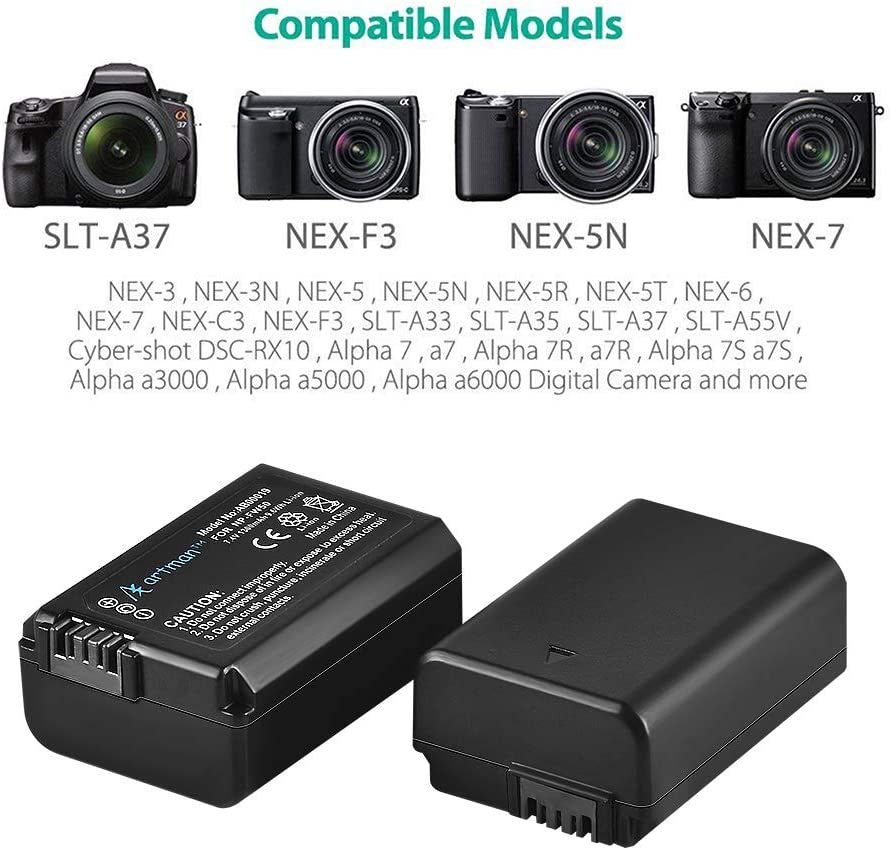 A7 A7R2 A55 A5100 A7S2 RX10 Accessories A7II A7S A6500 A7SII A6300 Artman 2-Pack NP-FW50 Batteries and Dual USB Charger for Sony A6000 A7RII 1300mAh,Micro USB Port A7R