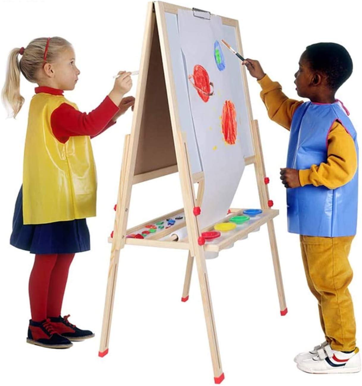 CHILDRENS WOODEN DOUBLE SIDED EASEL BLACKBOARD MAGNETIC KIDS