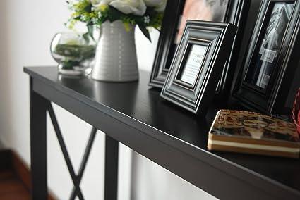 Espresso Finish Desk 3-Tier X-Design Occasional Console Sofa Table Bookshelf