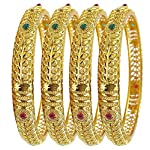 YouBella Fashion Jewellery Traditional Gold Plated Bracelet Bangles Set of 4 for Girls and Women