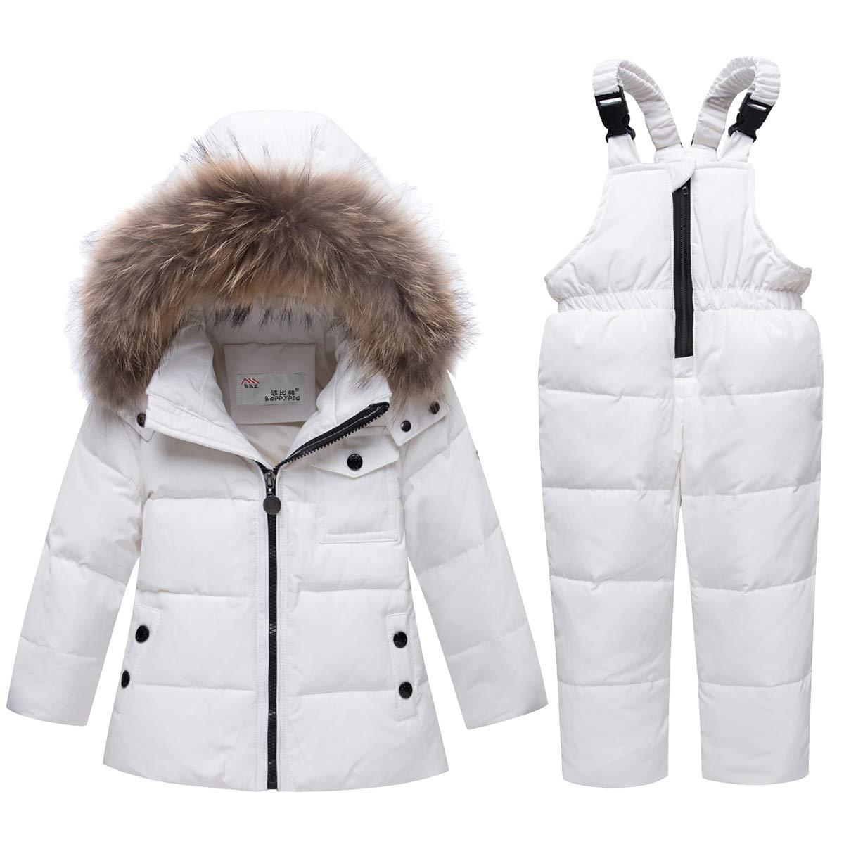 SANMIO Baby Boys Girls Two Piece Snowsuit, Winter Hooded Puffer Down Jacket Snowsuit with Ski Bib Pants Set for Kids (White, 3-4T) by SANMIO