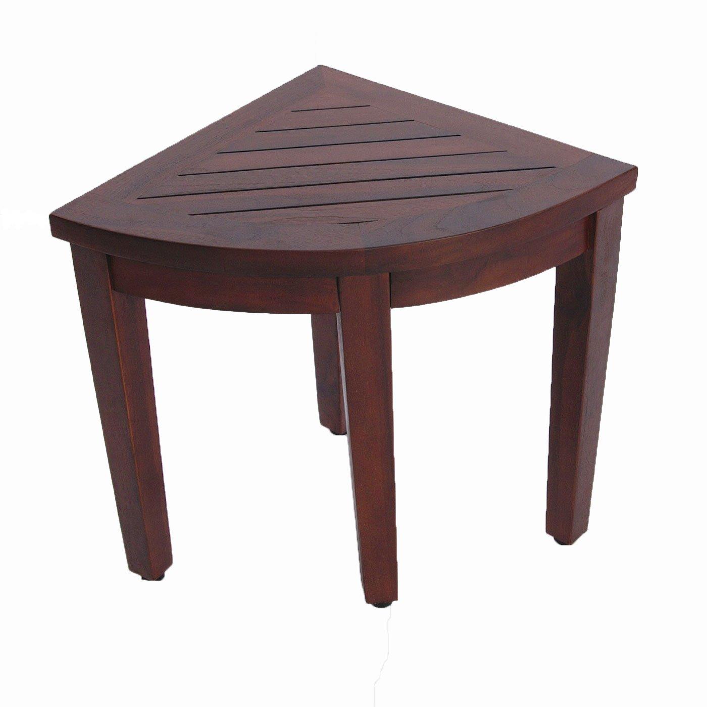 Oasis Bathroom Teak Corner Shower Seat Stool Chair Bench- Sitting, Storage, or Foot Rest