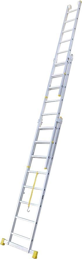 Escalera transformable de tres tramos, permite su uso como escalera extensible y en tijera. Según UNE-EN 131. (3x12 peldaños). Escalera triple tijera profesional en aluminio. Fabricada en España.: Amazon.es: Bricolaje y herramientas