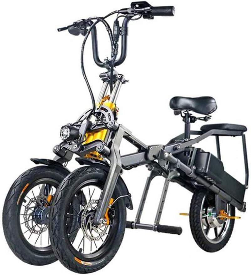 XYDDC Portátil Plegable eléctrico de Tres Ruedas de Bicicletas ...