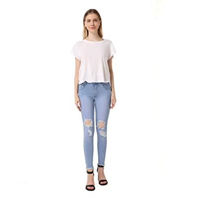 AFANG Women's Curvy Butt Elastic Waist Band Stretch Soft Denim Skinny Jeans at Women's Jeans store