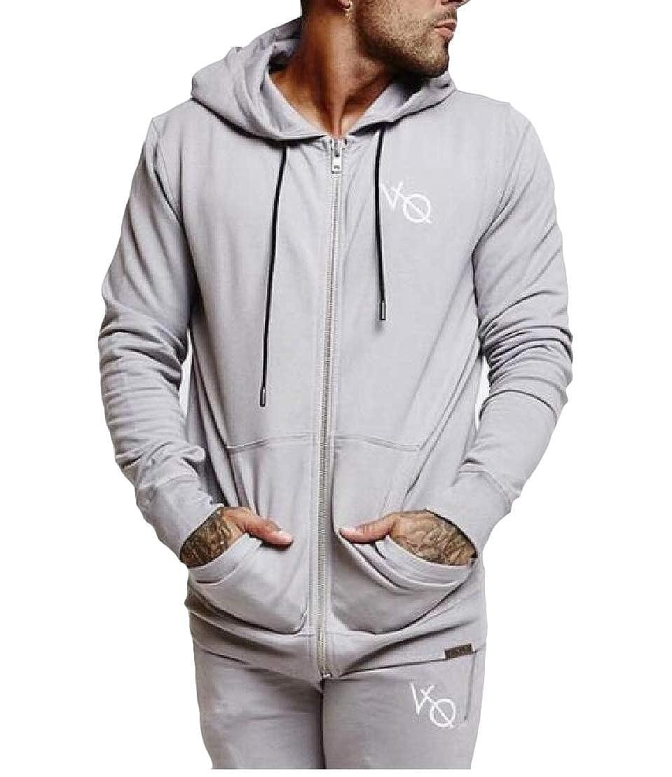 Wofupowga Mens Coat Sports Solid Breathable Hooded Slim Fit Sweatshirts