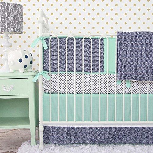 Caden Lane Mint and Navy Chevron 2 Piece Crib Bedding Set by Caden Lane   B00MUETXO8