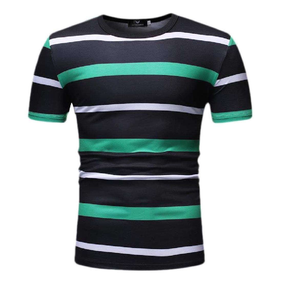 Zantt Mens Casual Round Neck Short Sleeve Striped Hipster Slim Fit T-Shirt