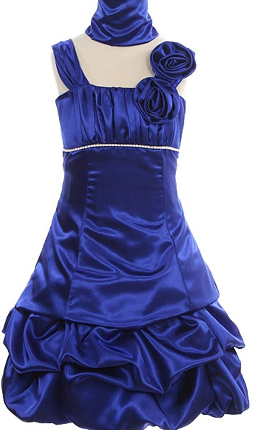 AkiDress Shinny Satin Taffeta Pickup Dress Column Straps for Little Girl