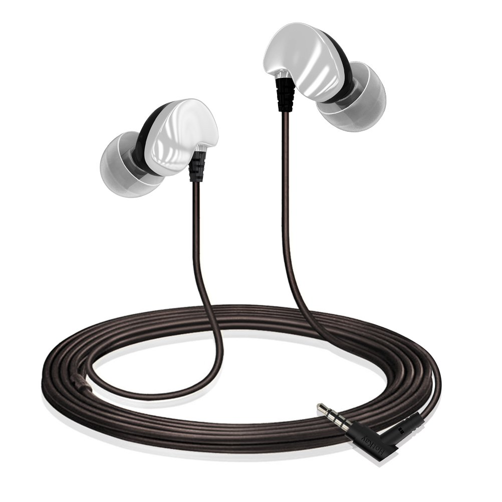 In-Ear Wired Anti-Noise Sports Anti-Sweat Headphones,Lightweight Ear Buds for Sport Gym.Support iPhone iPod iPad Samsung Android Mp3 Mp4 and more. Silver