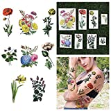 Tattify Bright Colorful Flower Temporary Tattoos - The Secret Garden (Set of 16) Long Lasting, Waterproof, Fashionable Fake Tattoos