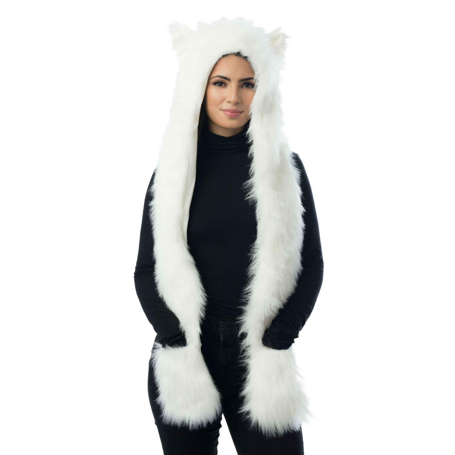 Faux Fur White Animal Hood Hat with Scarf Polar Bear One Size fits Most