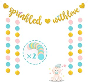 Sprinkled With Love Banners, Baby Sprinkle Decorations, Sprinkle Themed Baby Shower Party Supplies, Gender Reveal Glitter Pink Blue Second Baby Shower Decor,Baby Diaper Party Backdrop