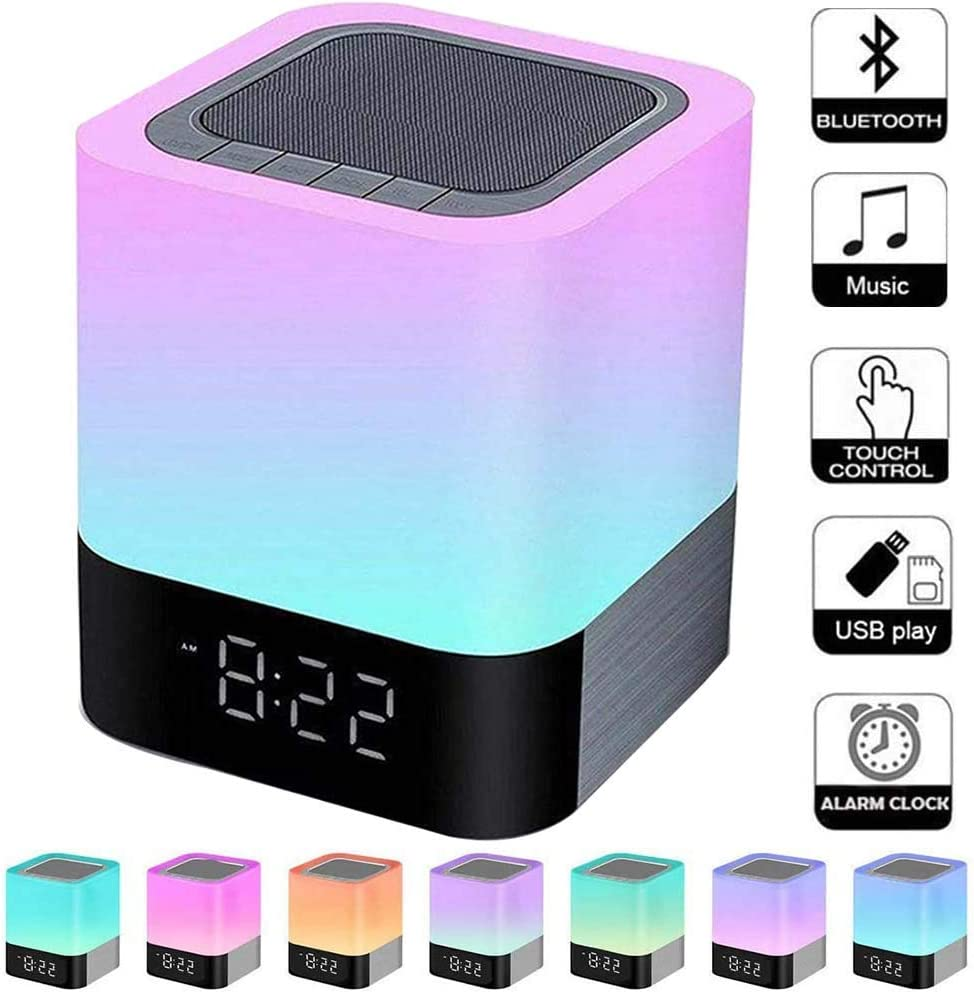 Foreita Night Light Bluetooth Speaker - Touch Control Bedside Lamp Night Light Dimmable Warm Light Lamp 4000mAh Battery Support MP3 USB AUX for Kids Bedroom