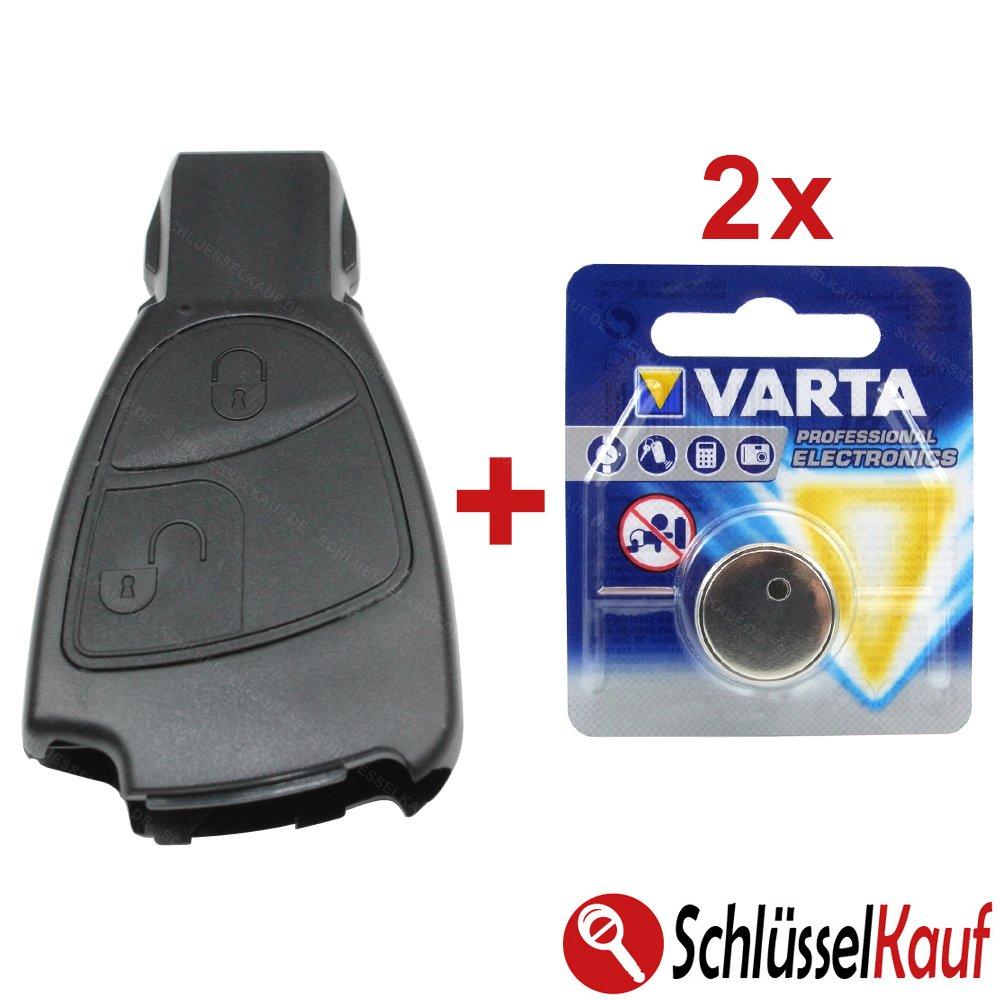 Mercedes Benz 2 buttons Car Key Shell W169 W202 W203 W208 W210 W245 + 2 Batteries