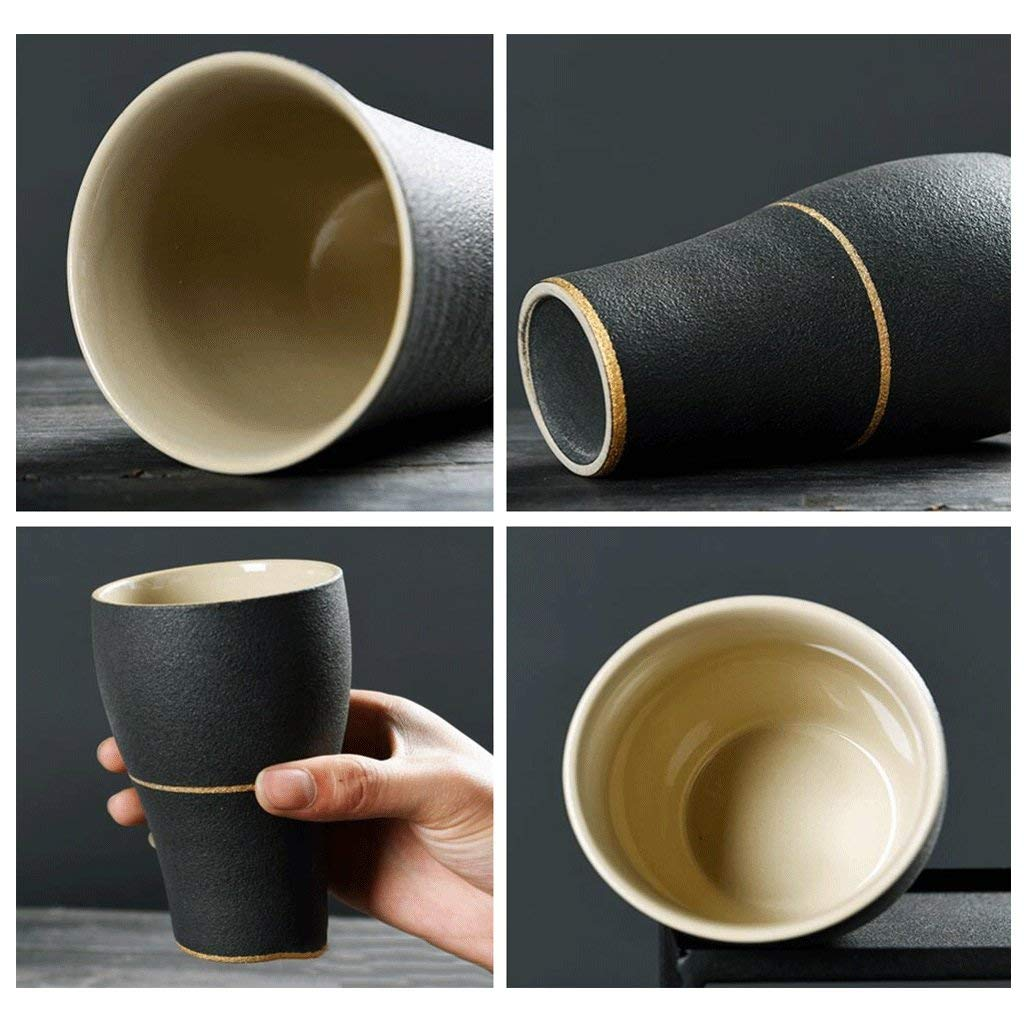 Exquisite Tea cups Saucers set Set Coffee Cup Tea pot, Tea cups 2 PCS Matte Models Mug Ceramics Drink Cup Handy Cup Water Cup Coffee Cup Milk Cup Breakfast Cup Cup Couples Cup Office Room Home Black U by Kinue (Image #3)