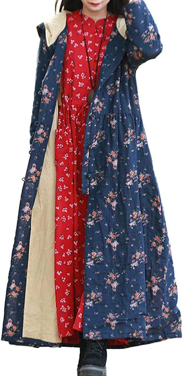 LZJN Womens Trench Coat Floral Print Jacket with Hood Blue