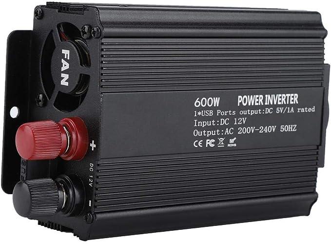 HEEPDD Corrección Convertidor inversor de Onda sinusoidal, convertidor de 12 V 220V 600W Inversor de Corriente con Panel Solar Convertidor inversor de Onda sinusoidal modificada